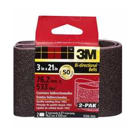 3M 9266NA-2 3 in X 21 in Heavy Duty Sanding Belt 50 Grit 2pk
