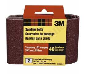 3M 9285NA-2 3 in X 21 in Heavy Duty Sanding Belt 40 Grit 2pk