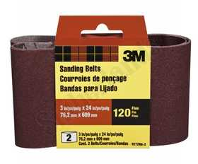 3M 9272NA-2 3 in X 24 in Heavy Duty Sanding Belt 120 Grit 2pk