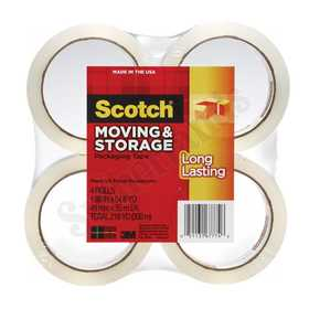 3M 3650-4 Clear Packing Tape 48mmx35m 4-Pack