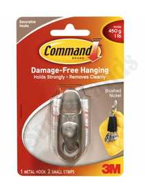 3M FC11-BN Metal Command Hook Small Classic Brushed Nickel