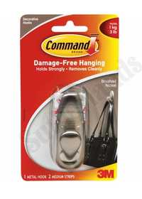 3M FC12-BN Command Forever Classic Brushed Nickel Medium Metal Hook