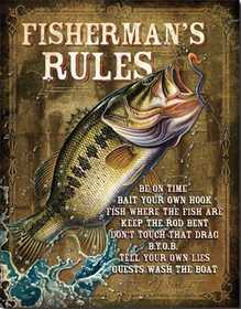 Nostalgic Images OD-1870 Fisherman's Rules Metal Sign