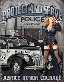 Nostalgic Images CD-1721 Police Protect And Serve Metal Sign