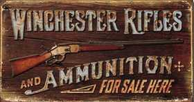 Nostalgic Images OD-1862 Winchester Rifles And Ammunition For Sale Here Metal Sign