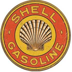 Nostalgic Images TD-1964 Shell Gasoline 1920s Round Metal Sign