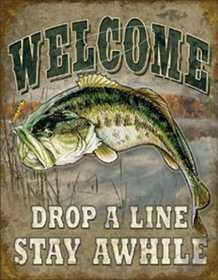 Nostalgic Images OD-1669 Welcome Drop A Line Stay Awhile Metal Sign