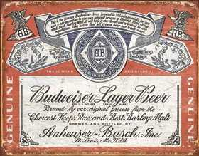 Nostalgic Images BD-1751 Budweiser Historic Label Metal Sign