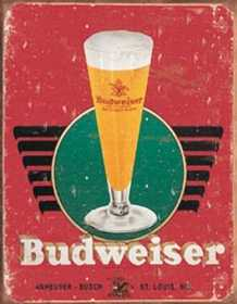 Nostalgic Images BD-1483 Budweiser Retro Glass Logo Metal Sign