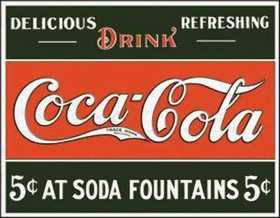 Nostalgic Images CC-1052 Coca-Cola Five Cents Metal Sign