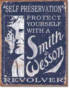 Nostalgic Images OD-1515 Smith And Wesson Self Preservation Metal Sign