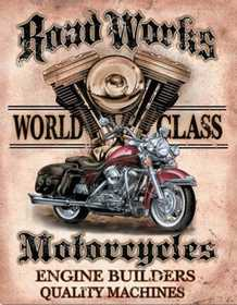 Nostalgic Images TD-1536 Road Works World Class Motorcycles Metal Sign