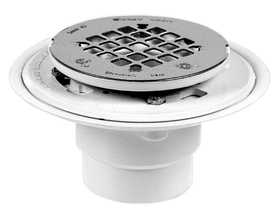Oatey 42202 PVC Drain With Round Stainless Steel Snap-Tite Strainer 2/3 in