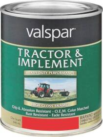 Valspar 4432-23 Interior/Exterior Tractor And Implement Enamel Paint Red Oxide High-Gloss Finish Quart