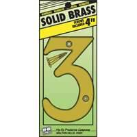 Hy-ko Products 0251033 4 in #3 Brass House Number