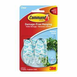 3M 17091CLR Cmd 2 Medium Hooks W 4 Strips