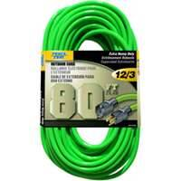 Power Zone ORN512833 Ext Cord 12/3 80 ft Neon Green