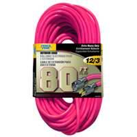 Power Zone ORN513833 Extension Cord 12/3 80 Ft Neon Pink