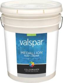 Valspar 3400 Medallion Interior Latex Paint Satin White 5 Gal