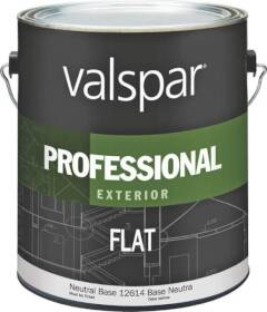 Valspar 12614 Professional Exterior Latex Paint Flat Neutral Base 1 Gal