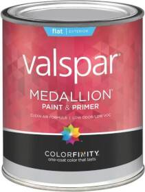 Valspar 45501 Medallion Exterior Latex Flat Paint And Primer In White 1 Quart
