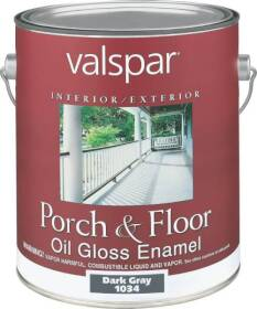 Valspar 1034 Porch and Floor Interior/Exterior Oil Enamel Paint Gloss Dark Gray 1 Gal
