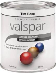 Valspar 65102 Premium Latex Enamel Paint Gloss Tint Base 1 Qt