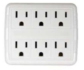 Power Zone OR801011 Tap 6 Outlet Power White