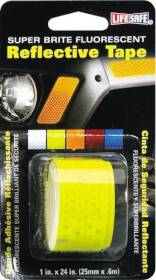 Incom Manufacturing RE181 LifeSafe Reflective Tape Neonbrite Fluorescent Lime 1 In W X 24 In L