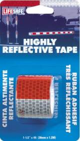 Incom Manufacturing RE800 LifeSafe Highly Reflective Tape Red And Silver 1-1/2 In X 4 Ft