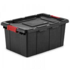 Sterilite 14649006 15 Gal Black Industrial Tote with Racer Red Latches