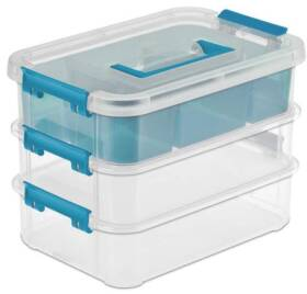 Sterilite 14138606 Stack and Carry Clear 3 Layer Handle Box and Tray with Blue Aquarium Handle and Latches