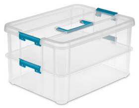 Sterilite 1422 Stack And Carry Two Layer Handle Box, Clear