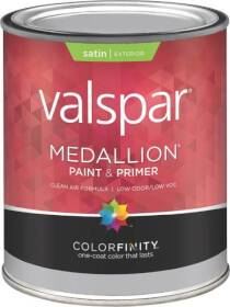 Valspar 4102 Medallion Exterior Latex Satin Paint Tint Base 1 Quart