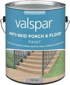 Valspar 024.0082030.007 Anti-Skid Enamel Porch And Floor Paint Light Gray 1 Gal