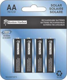 Boston Harbor BT-NC-AA-400-D4 Solar Battery 400mah Nicd 4pk