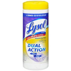 Reckitt Benckiser 0193409 Lysol Dual Action Disinfecting Wipe 35 Count