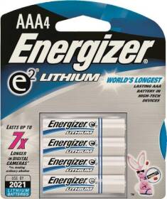 Energizer Battery L92BP-4 Ultimate Lithium Battery, 1.5 V, Aaa, 4 Pack