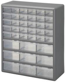 Stack-On DS-39 39 Bin Plastic Drawer Cabinet, Gray
