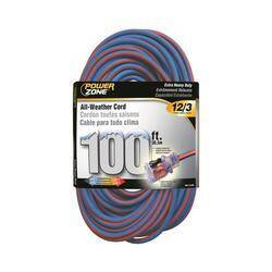 Power Zone ORC530835 Cord 100 ft 12/3 All Weather