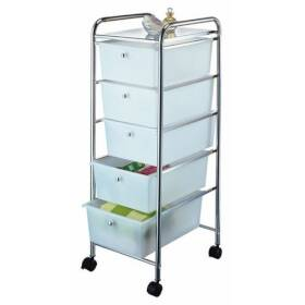 Homebasix G005-CH 5 Drawer Storage Cart Chrome