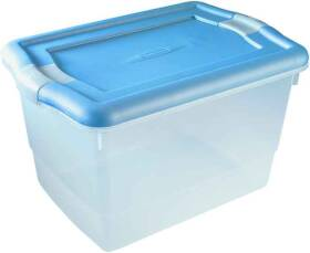 Rubbermaid 3Q2500CLMCB 30 Qt Zirconia Clear Storage Tote with Blue Latching Handles