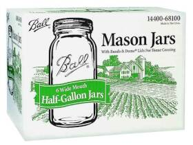 Jarden Home Brands 68100 1/2-Gallon Mason Canning Jars/Lids