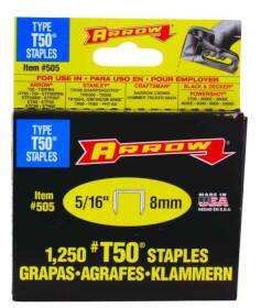 Arrow Fastener Co 50524/505 5/16 Wedge Pt Staples 1250/Bx