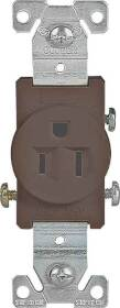Cooper Wiring 817B-BOX 15a 125v 3wire Brown Single Receptacle