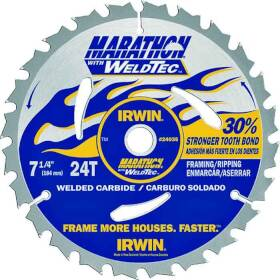 Irwin 24035 7-1/4 24th Circular Saw Blade Weldtec