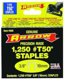 Arrow Fastener Co 50624/506 3/8 in Staples 1250/Box