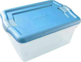 Rubbermaid FG3Q22CLMCB 15 Qt Clear Clever Store Storage Container with Blue Latching Handles