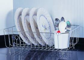 Homebasix 637132 Chrome Dish Drainer With Cutlery Basket