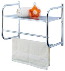 Homebasix BR32-CH Chrome Wall Rack W/Metal Shelf